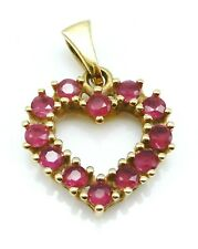 BEAUTIFUL Solid 18k Yellow Gold / Ruby Ladies Heart Pendant