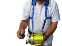 Stand up fishing harness for offshore fishing and big game reels