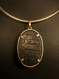 Antique Early Islamic Hand Engraved Talisman Agate Stone 18K Gold Pendant 4Hijri