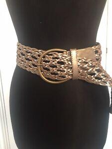 Accessorize Monsoon Metallic Wide Cinch Leather Waist Buckle Belt 10 12 14