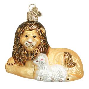 Old World Christmas LION & LAMB (12086)N Glass Ornament w/ OWC Box