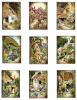 "English Cottage Gardens Repro Fabric Quilt Blocks (9) @ 2X3"" on 8.5X11"" Sheet"