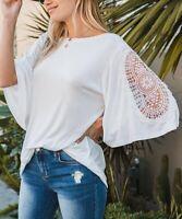 Amaryllis Crochet-Insert Flutter Sleeve Half Sleeve Boat Neck Top (White, 1X)