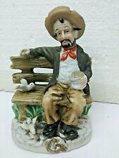 Vintage Old Man Hobo Feeding Birds on Bench Figurine Knick Knack great cond #20
