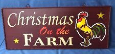 """Christmas On The Farm"" w/ Rooster Tin Metal Lighted Sign 26"" x 10 3/4"""