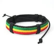Reggae Marley Peace Black Leather Surfer Wristband Wrist Band Bracelet NEW