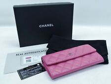Chanel Pink Quilted Caviar Leather Flap Wallet  $875