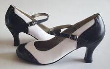 "Funtasma Flapper Costume Shoes Size 9 Black White Side Buckle 3"" Heels"