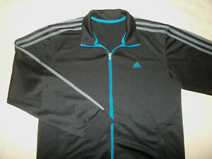 ADIDAS FULL ZIP BLACK W/GRAY STRIPES ATHLETIC JACKET MENS LARGE EXCELLENT COND.