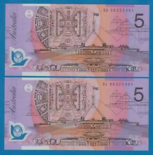 Australia 2 x 5 Dollars 2 Notes Same Serial Number ! (08221491) P 57 f 2008 Unc