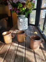 Vintage McCoy Brown Pottery 1412 USA Coffee Cup Mugs Set Of 3