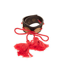 RRP €350 DSQUARED2 Leather Cuff Bracelet Japanese Tassels Etched Made in Italy