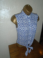NEW Atmosphere Blue Patterned Tie Top Size 6 - Worn once!
