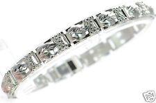 """Solid 925 Sterling Silver Leaf & Grape Design Link Bracelet 7-1/4"""" L '"""