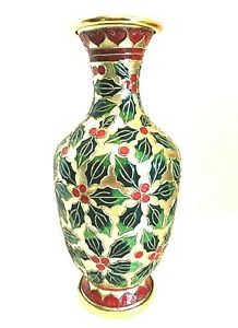 """Holly Berries Vase Christmas Cloisonne Style Enamel Metal Gold Green Red 9""""Tall"""