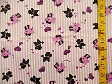 HELLO KITTY STRIPES SANRIO T SHIRT COTTON KNIT FABRIC NO STRETCH BY THE 1/2 YARD