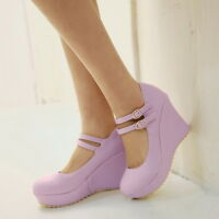 Womes High Platform Wedge Heel Wedding Sweet Candy Buckle Mary Janes Shoes 34-43