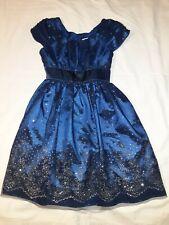Jona Michelle Sapphire Blue Silver Tulle Overlay Christmas Formal Dress Girls 8