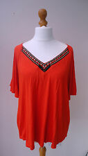 ( ) Bright Orange George Top Deep Embellished V-neck Bell Sleeves Size 20