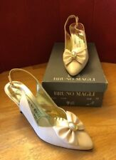 Bruno Magli Womens 9.5 AAAA Pink Bow Ivory Clip Clio Leather Sling Back Heels LN