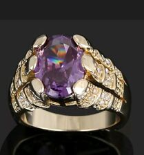 Gorgeous Purple Amethyst 18K Yellow Gold Filled Ring SIZES 9 / 10 /11/ 12