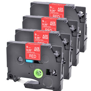 """4PK Compatible Brother TZe-425 TZ-425 White on Red Label Tape PT-2100 0.35"""""""