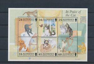 LO55752 Alderney pets animals fauna cats good sheet MNH