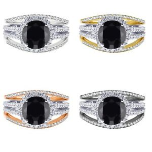 18k Gold Plated Round Black Onyx Wedding Engagement Silver Ring Set 2.35 Ct