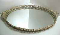 "Lovely Vintage Ormalu Gold Tone Oval Filigree Mirrored Vanity Tray 11"" X 18"""