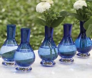 Glass Palace Bud Vase, Set of 6 Blue