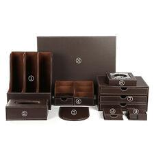 Set 9pcs Office Desk Organizer Business Leather File Holder Drawer Magzine Rack