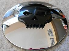"""VTWIN HARLEY TWIN CAM 7"""" CHROME AND BLACK SKULL AIR CLEANER INSERT 34-0050"""