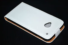 White Genuine Leather Real Leather Flip Case Cover Skin For HTC One 801s M7
