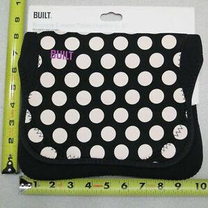 BUILT NY Neoprene Sleeve For 9-10 inch Tablet  Black / White Polka Dot New