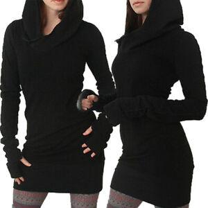 Women Gothic Steampunk Pullover Mini Dress Hoodie Sweatshirt Jumper Short Dress