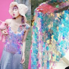 1M Colorful Laser Dense Sequin Fabric Mesh Bling Scales Wedding Garment Cosplay