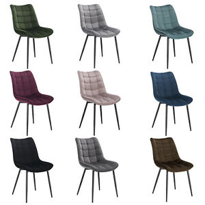 2x Esszimmerstuhl Küchenstühle Wohnzimmerstuhl gepolstert Stuhl aus Samt #1626