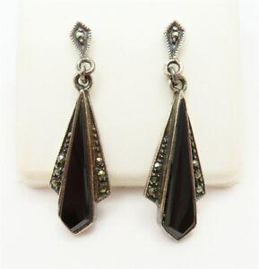 Sterling Silver Marcasite & Black Onyx Art Deco Style Dangle Earrings