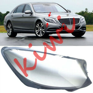 1* For Mercedes-Benz W222 S Class 2014-2019 Right Headlight Cover Clear PC+Glue