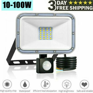 New Outdoor LED Floodlight PIR Motion Sensor 10-100W Garden Security Flood Light