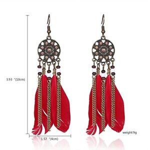 Boho Feather Owl Leaf Long Tassel Earrings Dangle Wedding Bride Womens Jewelry