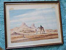 VINTAGE WATER COLOR PAINTING  ROMAGNOLI SAUDI ARABIA SMALL TOWN CAMEL 1947