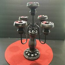 Halloween Candelabra Black Silver Spooky Gothic Table Haunted Theater Prop OOAK