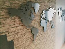 Weltkarte Edelstahl M  Wanddeko Design Wandbild (magnetisch)