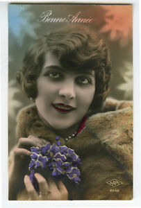 1920s Deco Pinup Glamour Lady PRETTY FLAPPER Beauty tinted photo postcard