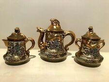 Antique JAPANESE SATSUMA Hododa SHIMAZU Three-Piece DRAGON TEASET Tea Set