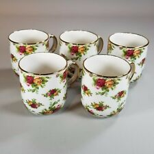 1998 Royal Albert OLD COUNTRY ROSES Set of 5 Casual Classic Mugs Gold Trim