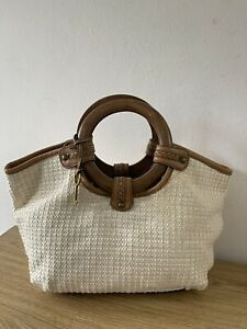 Fossil Woven Straw Wooden Handle Medium Grab Bag