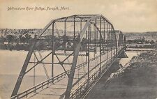 Forsyth Montana~Yellowstone River Bridge~Triple Span b1905~1907 B&W Postcard