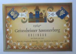 Weinetikett, Rheingau, Geisenheimer Sommerberg 1964 ♥